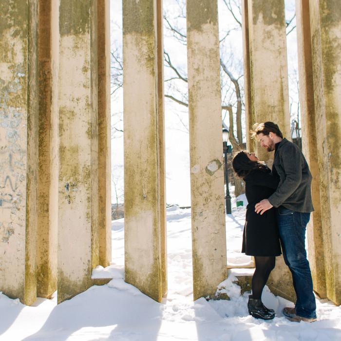 Snowy Cloisters engagement - New York Wedding Photographer